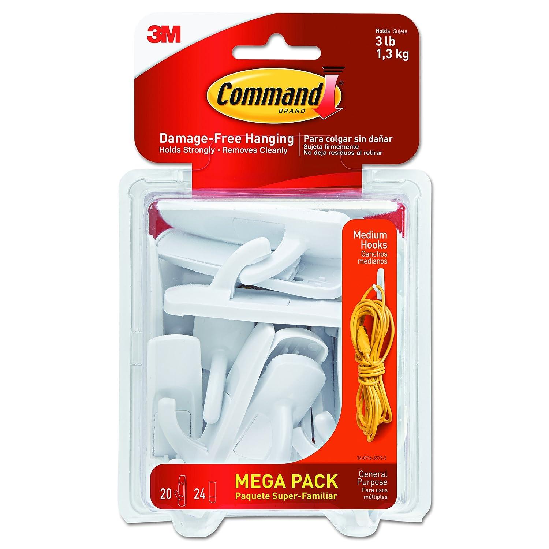 Command Utility Hooks Mega Pack Medium White 20 Hooks 17001 MPES