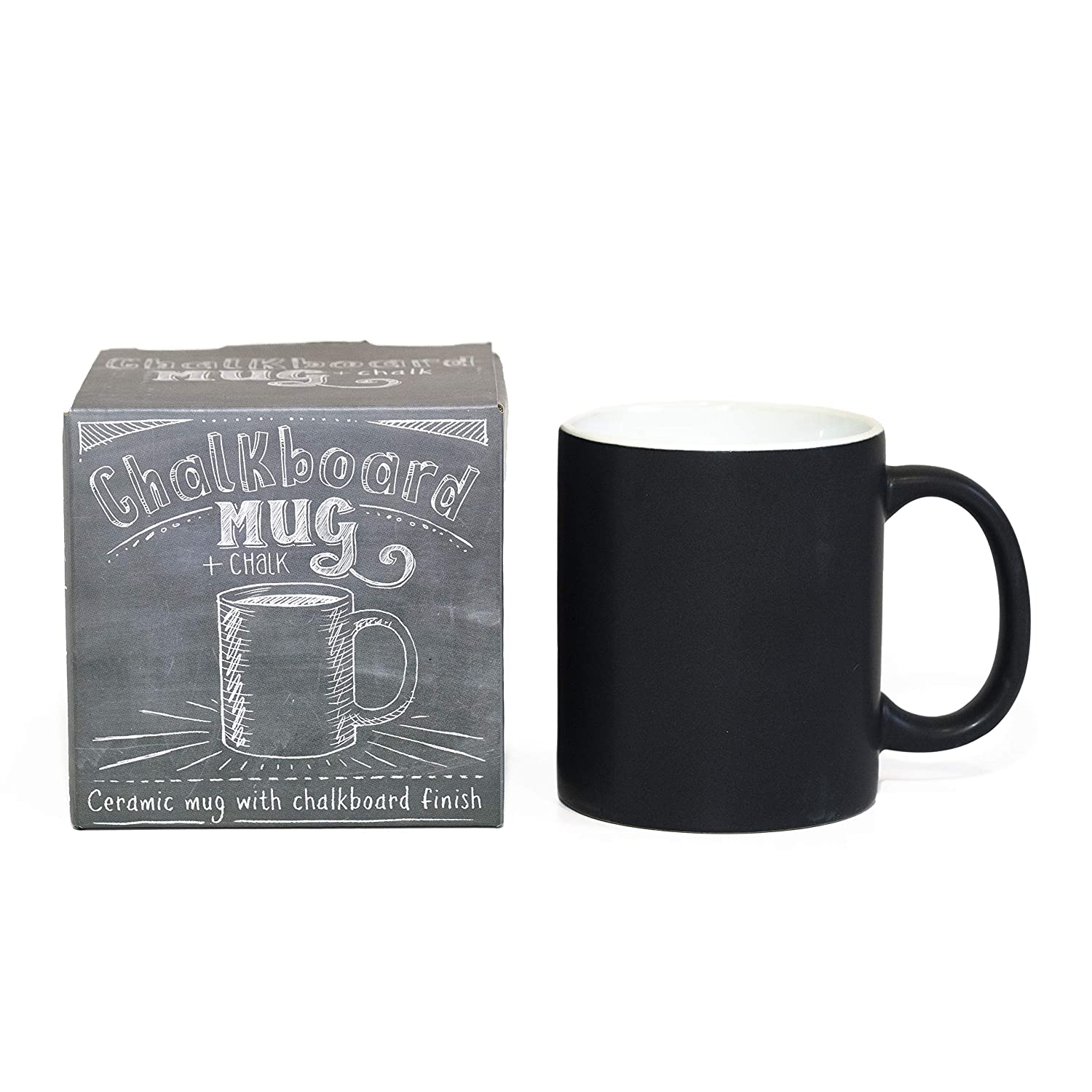 Personalized Chalkboard Ceramic Coffee Mug - Start Each Day with a New Message (Chalk Included)