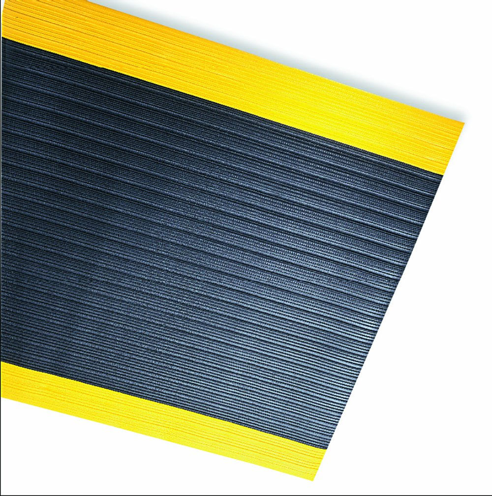 Durable Corporation Safety Spun Anti-Fatigue Mat Roll, 36'' Width x 60' Length, Black with Yellow Border