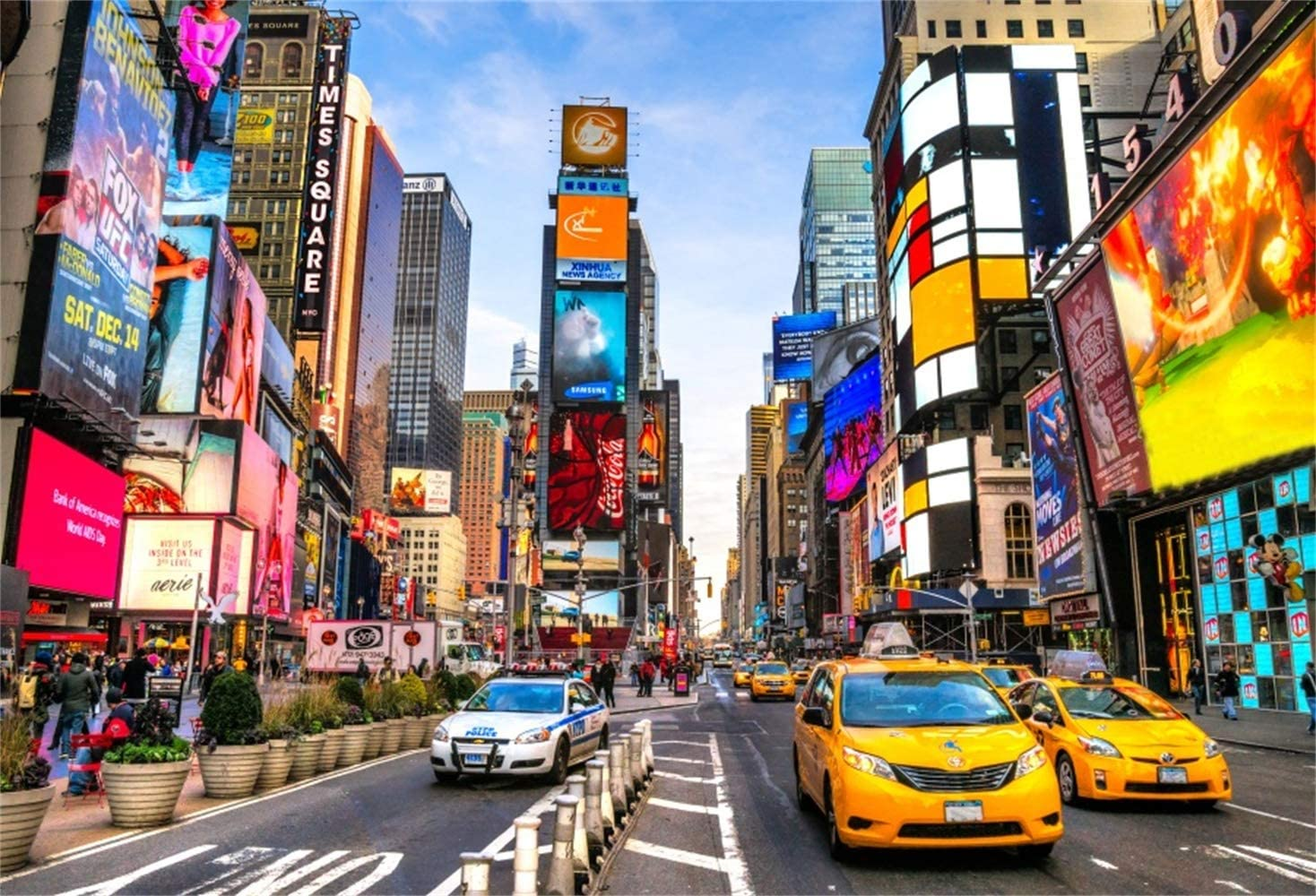 8x6.5ft New York Times Square Background Modern City Skyscrapers Polyester Photography Backdrops Clear Sky Various Advertising Board Yellow Taxi Car Financial District Film Shooting Video Studio