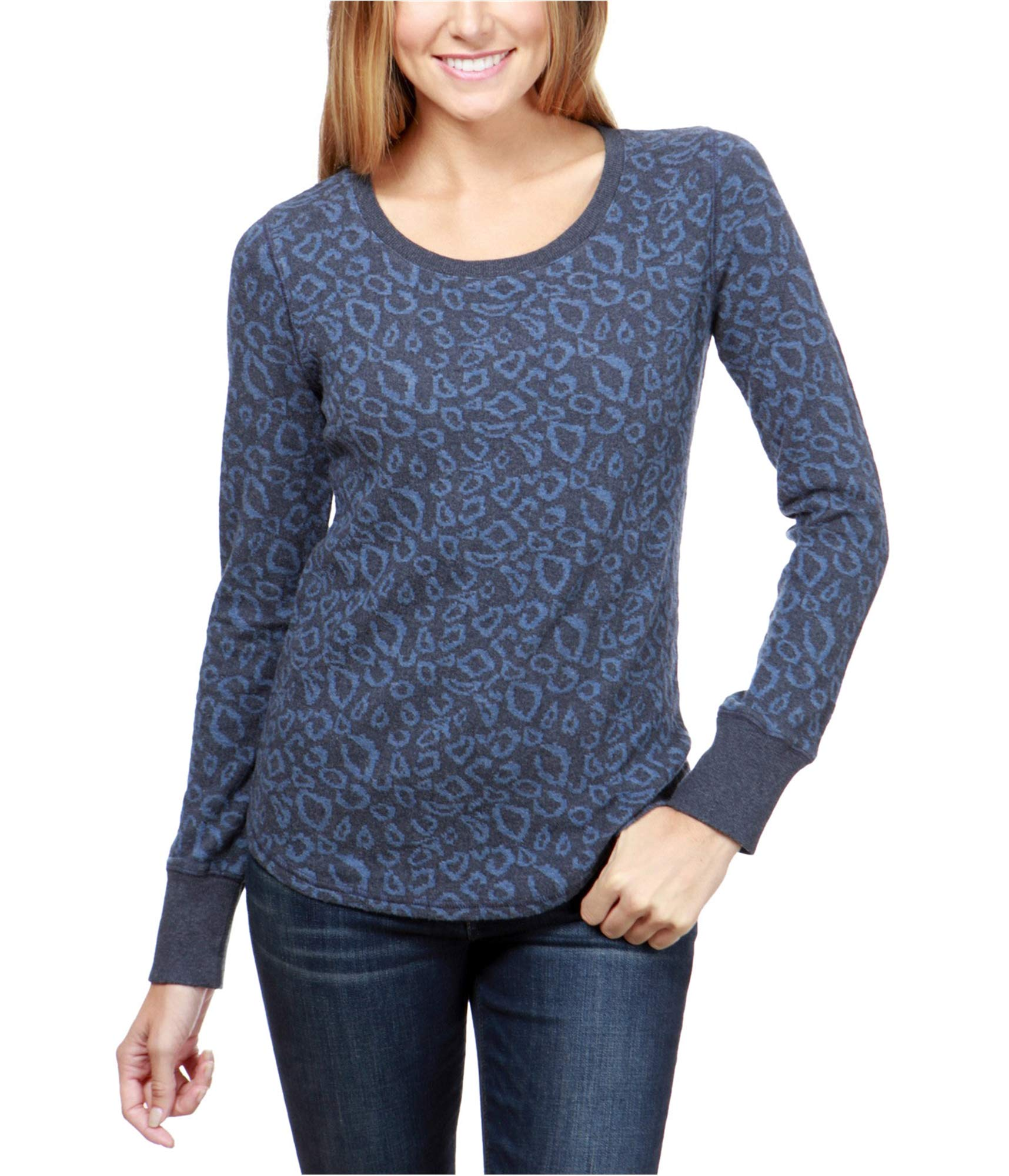 Lucky Brand Women's Cheetah Print Pullover, Blue/Multi, XL by Lucky Brand