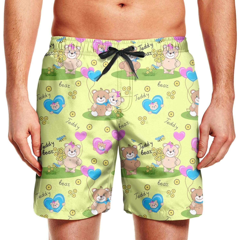 CCBING Big Teddy Bears for Girls Printed Mens Cool Swim Trunks 3D Printed Swimwear