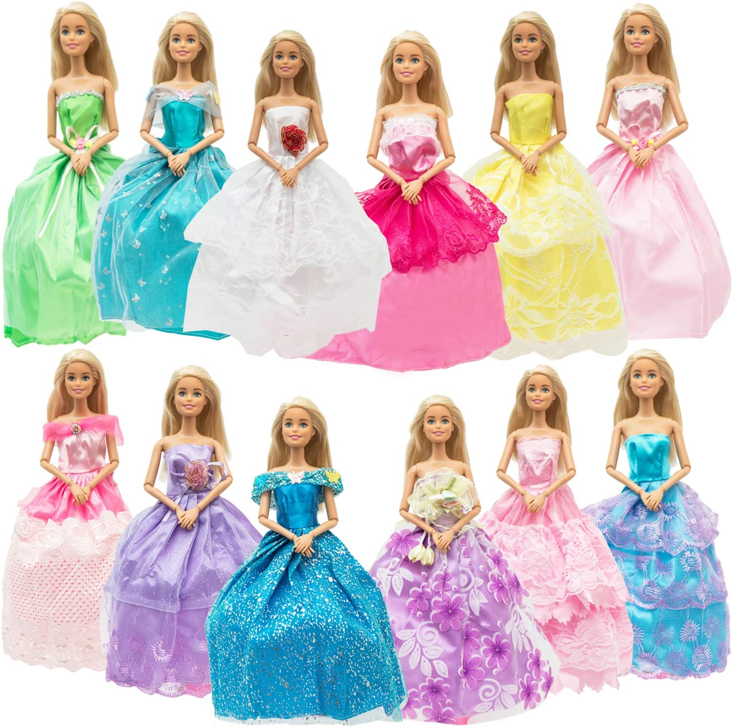 SOTOGO 12 Pieces Doll Clothes for 11.5 Inch Girl Doll Fashion Handmade Wedding Dresses Doll Clothes Evening Party Gowns Outfit Little Girls Gift