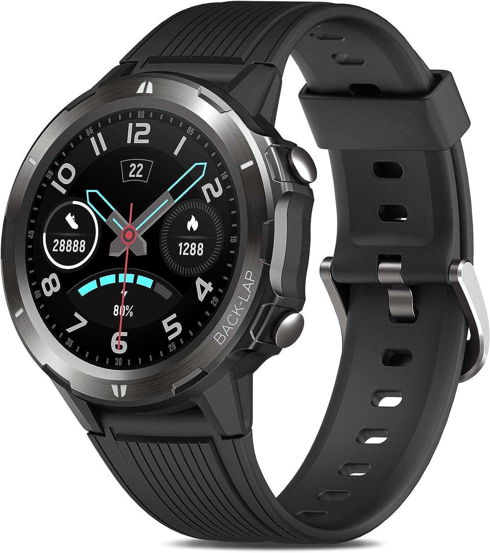 Reloj Inteligente Hombre, GRDE Smartwatch Mujer Redondo 12 Modo Deportivo con (Monitor de Ritmo Cardíaco/Sueño/Calorías) Reloj Fitness 5ATM ...
