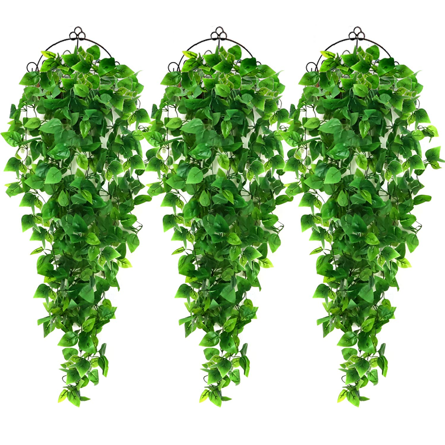 AGEOMET 3pcs Artificial Hanging Plants 3.6ft Fake Ivy Vine, Fake Hanging Plants Vine Plants Kitchen Plants for Wall House Room Indoor Outdoor Decoration (No Baskets)
