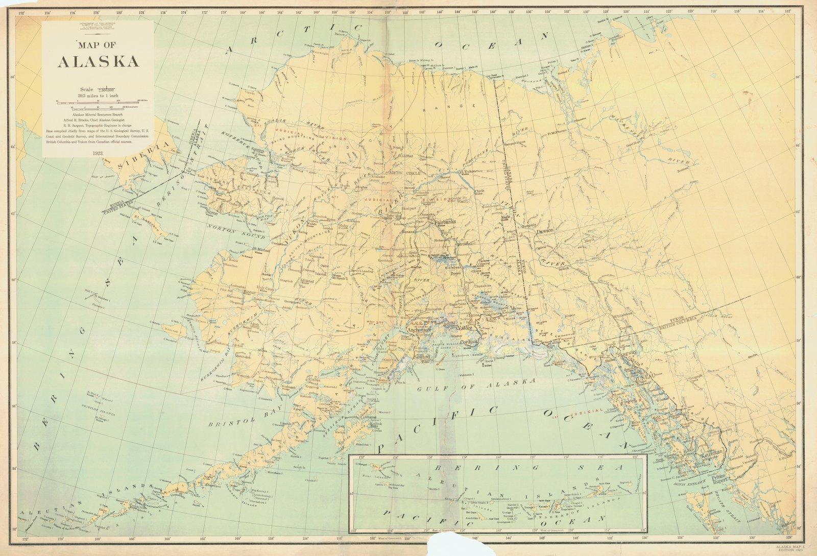 1923 Cartographic | Historical Map Of Alaska, AK |