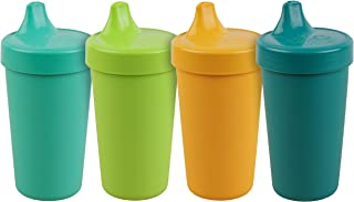 product image for Re-Play Made in The USA 4pk No Spill Cups for Baby, Toddler, and Child Feeding in Aqua, Lime Green, Sunny Yellow and Teal | Made from Eco Friendly Heavyweight Recycled Milk Jugs | (Aqua Asst.+)