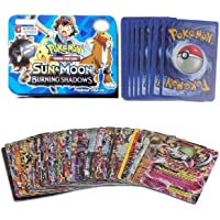 Kiditos Pokemon 42 Cards in 1, Sun and Moon Burning Shadows Card Game with Metal Box