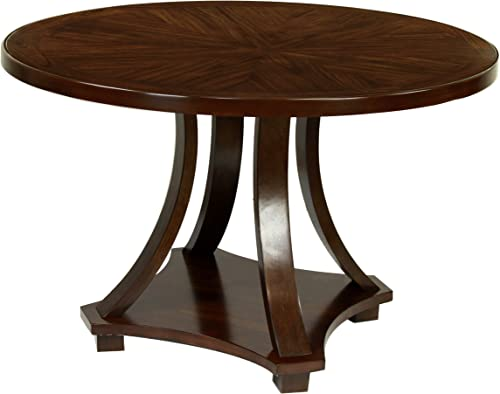 Furniture of America Fluxeur Round Dining Table, Dark Walnut Finish
