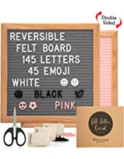 Felt Letter Board Grey and Pink Reversible 10x10 inches. Changeable Letter Boards Includes 570 Letters in 3 Colors American Oak Frame.