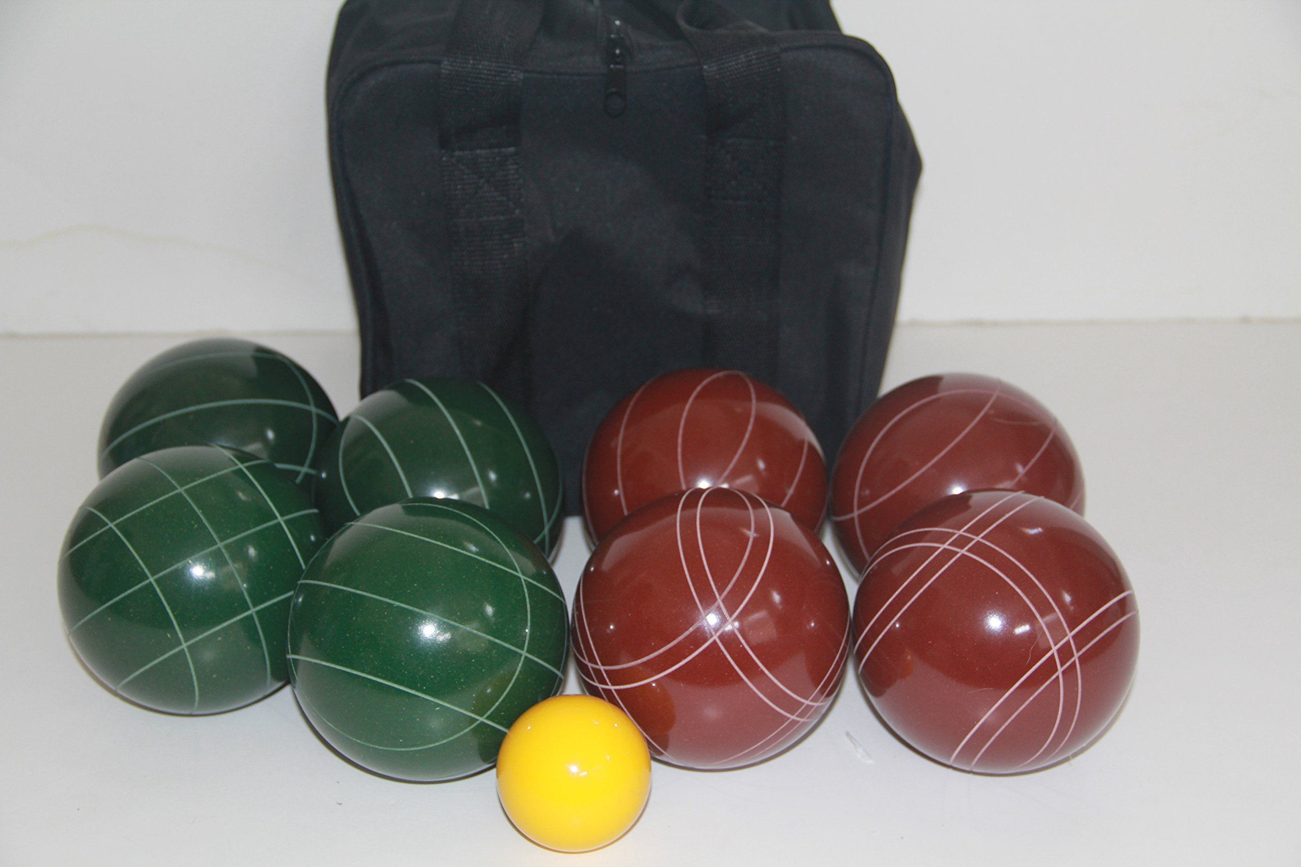 Premium Quality and American Made, 107mm EPCO Bocce Set - dark red and green balls and black bag
