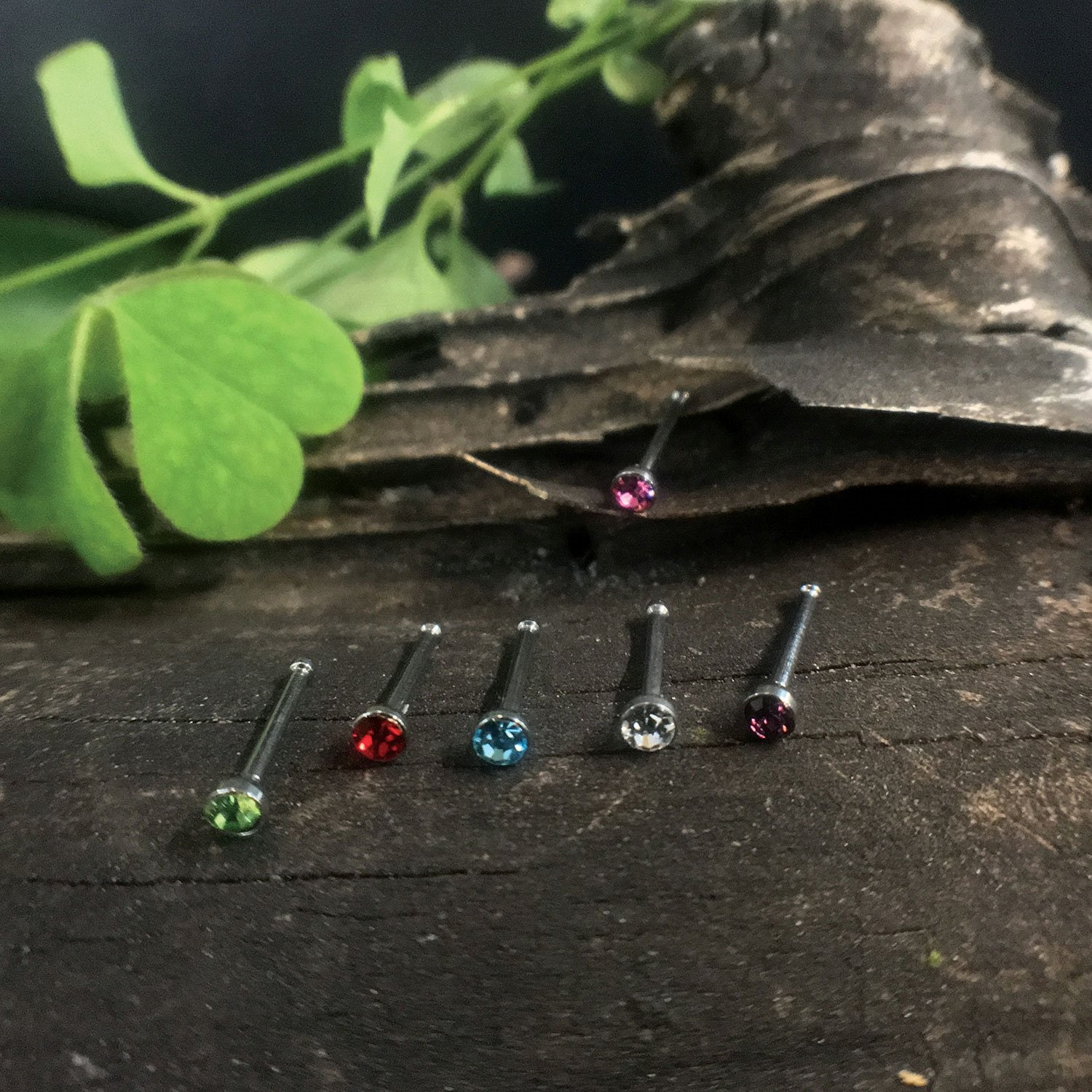 BodyJ4You Nose Rings Bone Stud Pin CZ 20G Lot 24-48 PCS Stainless Steel Body Piercing Jewelry NR0017-CL