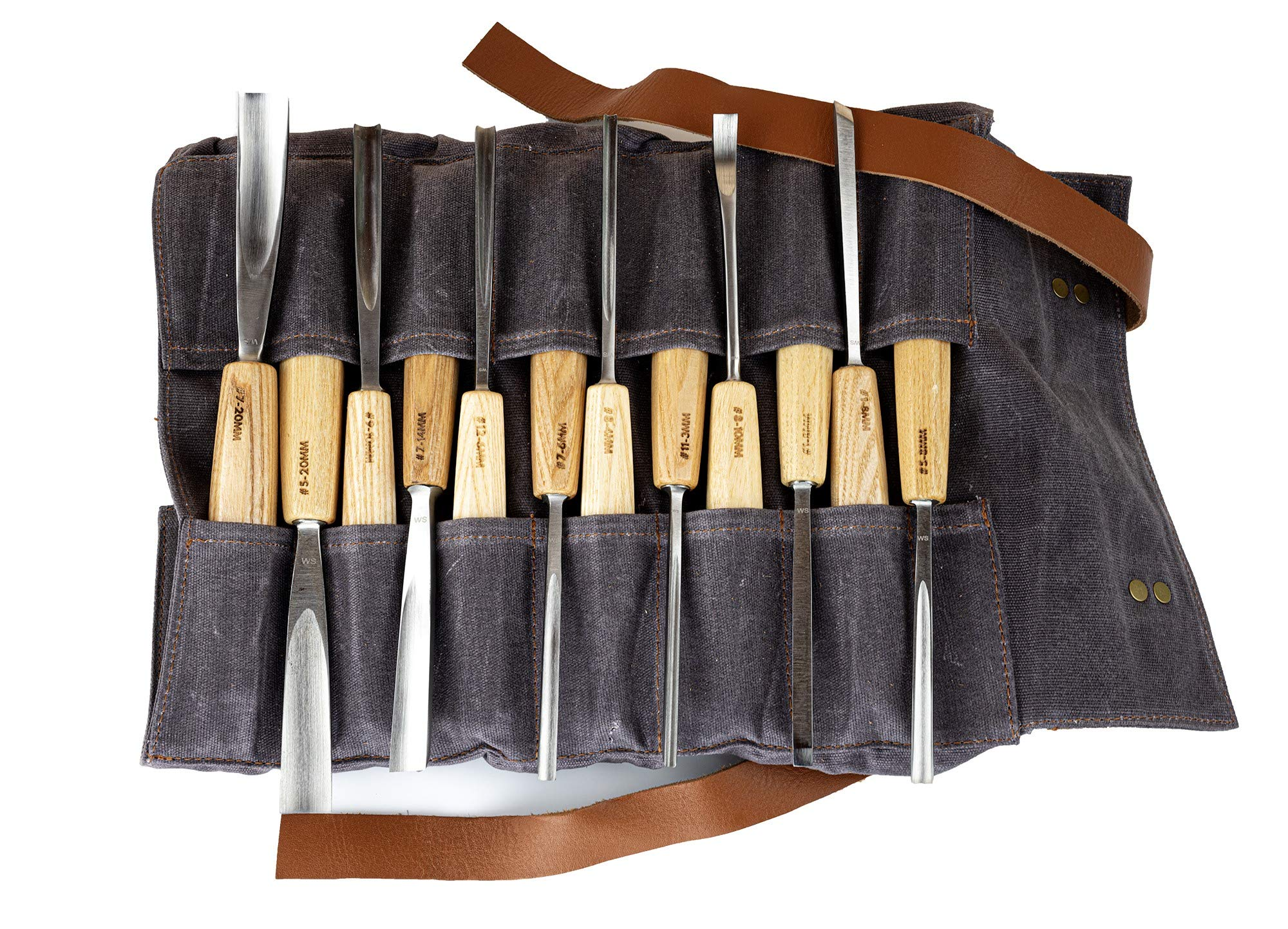 WINCKELSTEEL Wood Carving Tools Set of 12 Wood Chisels - Glides Through Wood Like Butter - Quality Carving Tools Chisel Set for All Skill Levels, Woodworking Tools for Hobbyists Or Professionals