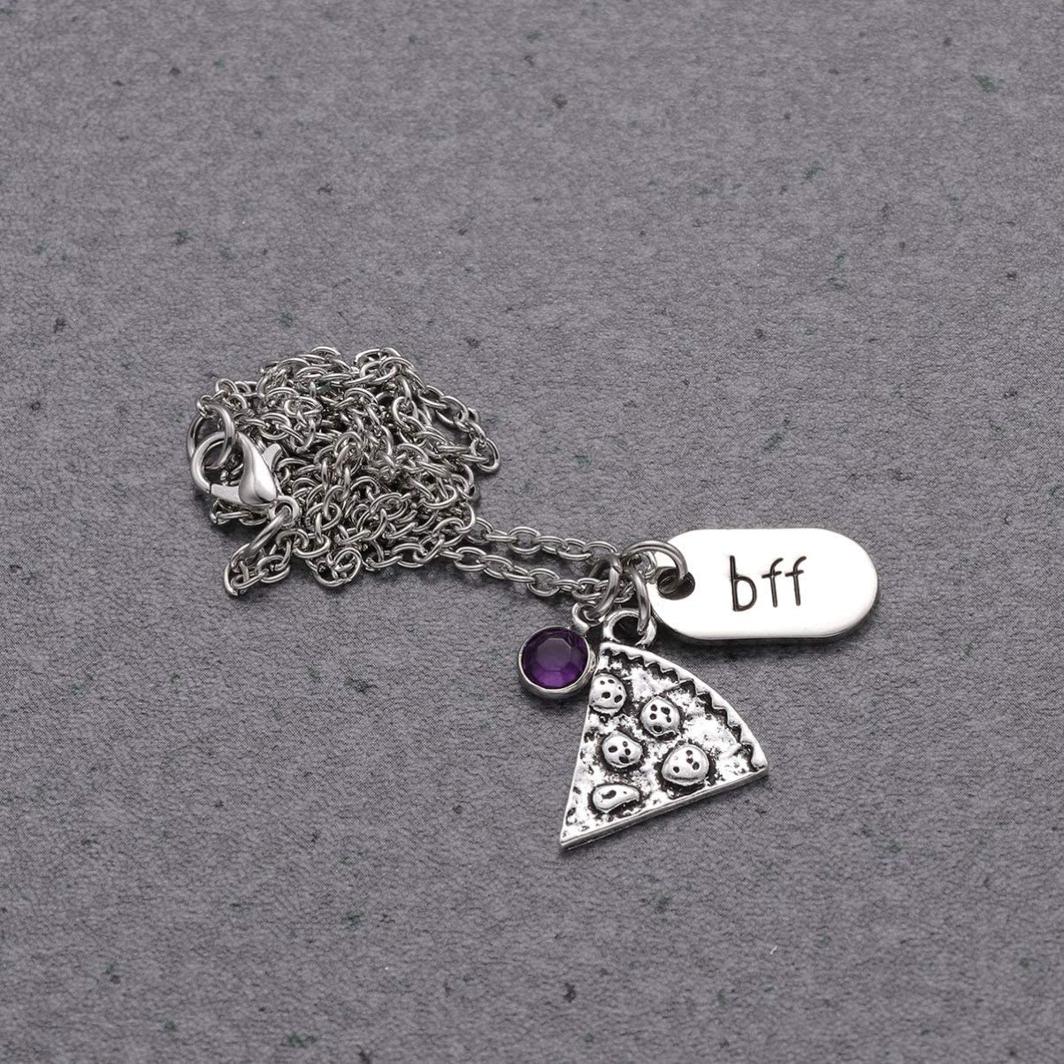 NUOBESTY 6pcs Pizza Pendant Necklace Diamond Best Friend Forever Bff Charm Friendship Necklace Bling Couple Pizza Slice Neck Chain For Unisex Friend Lover Gift