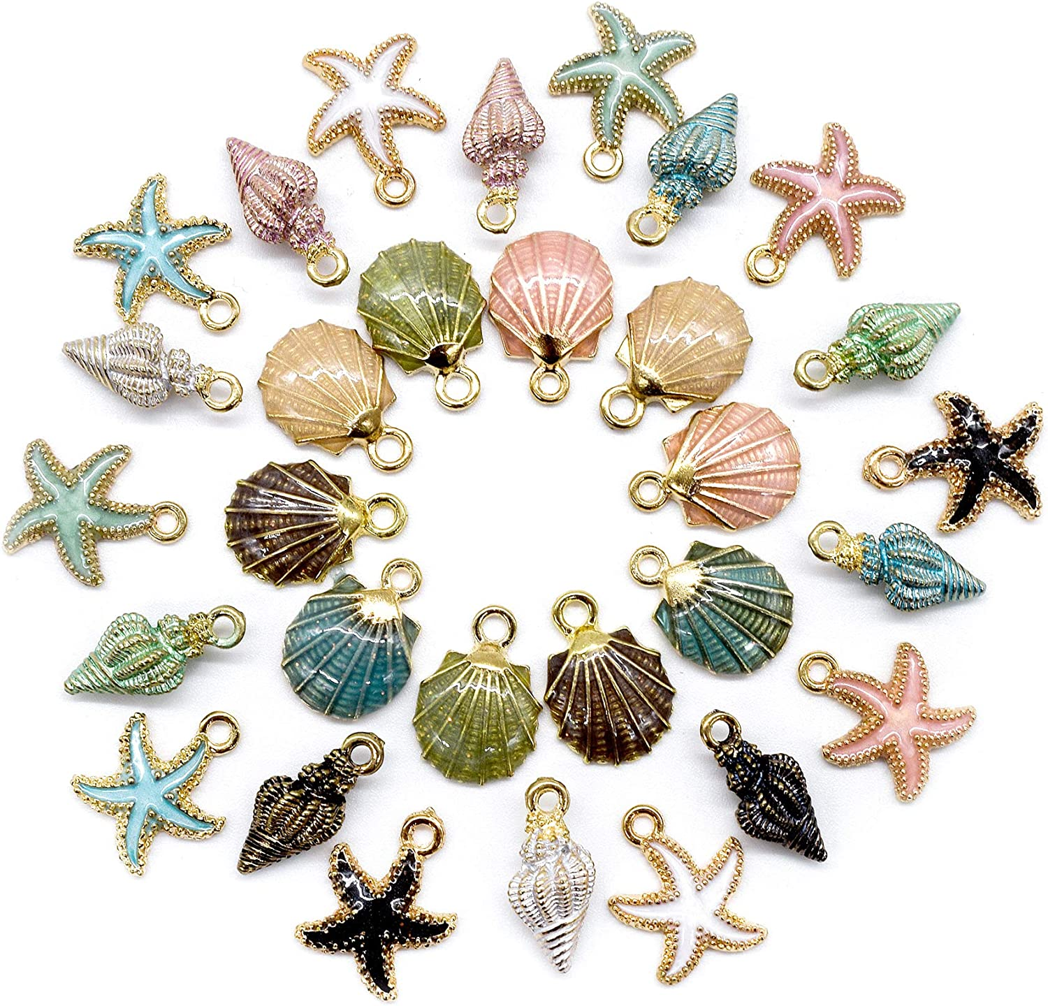 Ocean Sea Animal Starfish Charm for Necklace Bracelet DIY Jewelry Making 10PCS