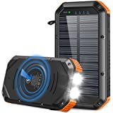 Solar Charger 30000mAh, Solar Power Bank 18W Qi Wireless Portable Charger Type-c Input & 5 Output Battery Charger with 4…