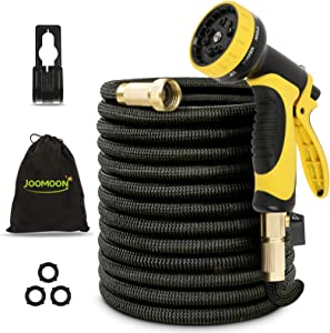 Panda Grip Garden Hose, Expandable Garden Hose,50ft Water Hose,Lightweight Flexible Triple Extension, 9 Latex Core with 3/4 Solid Brass Fittings,10 Function Spray Nozzle, Leak Resistant