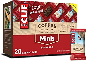 CLIF BARS Minis with 1 Shot of Espresso - Energy Bars - Espresso Flavor - 65 mgs of Caffeine Per Bar - Made with Organic Oats - Plant Based Food (0.99 Ounce Breakfast Bars, 20 Count)