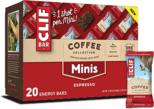 Clif Bar Minis with 1 Shot of Espresso – Energy Bars – Coffee Collection – 65 mgs of Caffeine Per Bar – Espresso Flavor 0.99 Ounce Breakfast Snack Bars, 20 Count