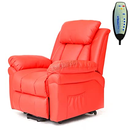 FoxHunter Bonded Leather Massage Cinema Riser Recliner Sofa Power Electric Lift Chair Mobility Armchair With Heating Function FH MLS 11 Red