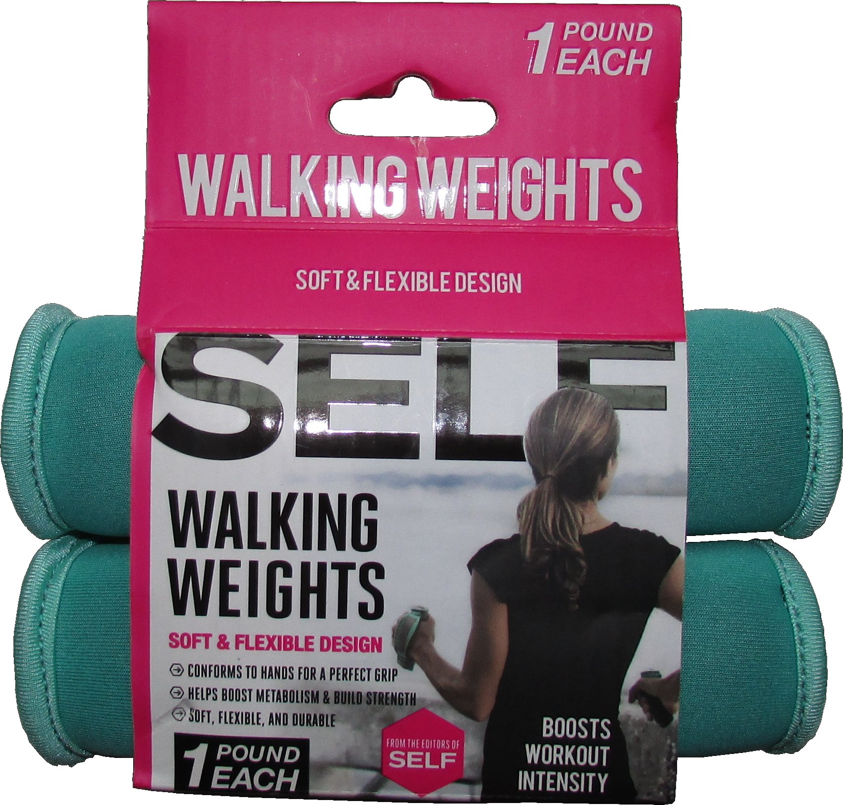 SELF green walking weights - pair - 2 lb per pair -1 lb each by self