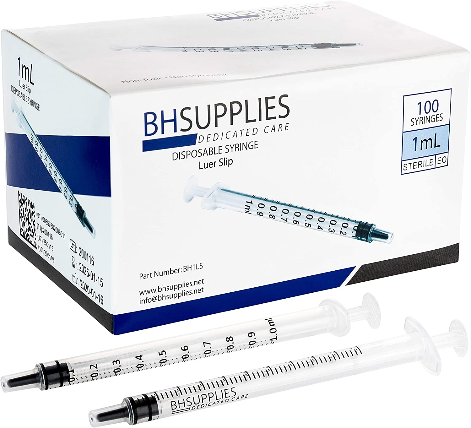 1ml Syringe Sterile with Luer Slip Tip - 100 Syringes by BH Supplies (No Needle) Individually Sealed: Health & Personal Care