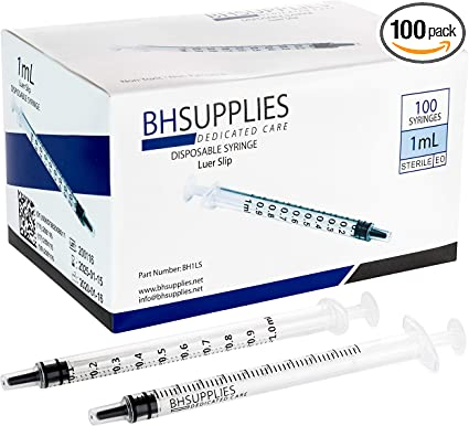 Amazon Com 1ml Syringe Sterile With Luer Slip Tip 100 Syringes By Bh Supplies No Needle Individually Sealed Health Personal Care
