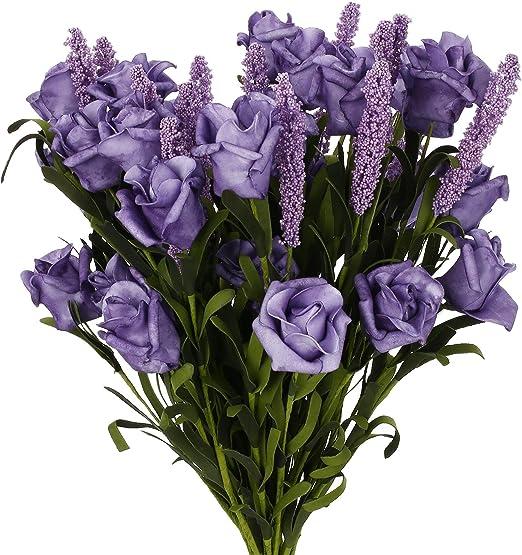 10 Heads Artificial Lavender Fake Silk Flower Bouquet Home Wedding Garden Decor