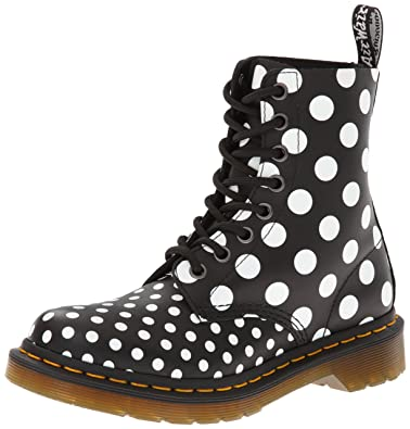 Amazon.com | Dr. Martens Women\'s Chay Boot, White/Black Dots, 3 UK ...