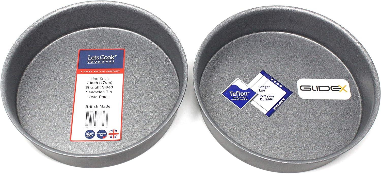 British Made mit GlideX TM nicht-Stick von Lets Cook Twin Pack fester Boden 17/cm 17,8/cm gerade-seitige rund Victoria Sandwich Kuchen-Dosen