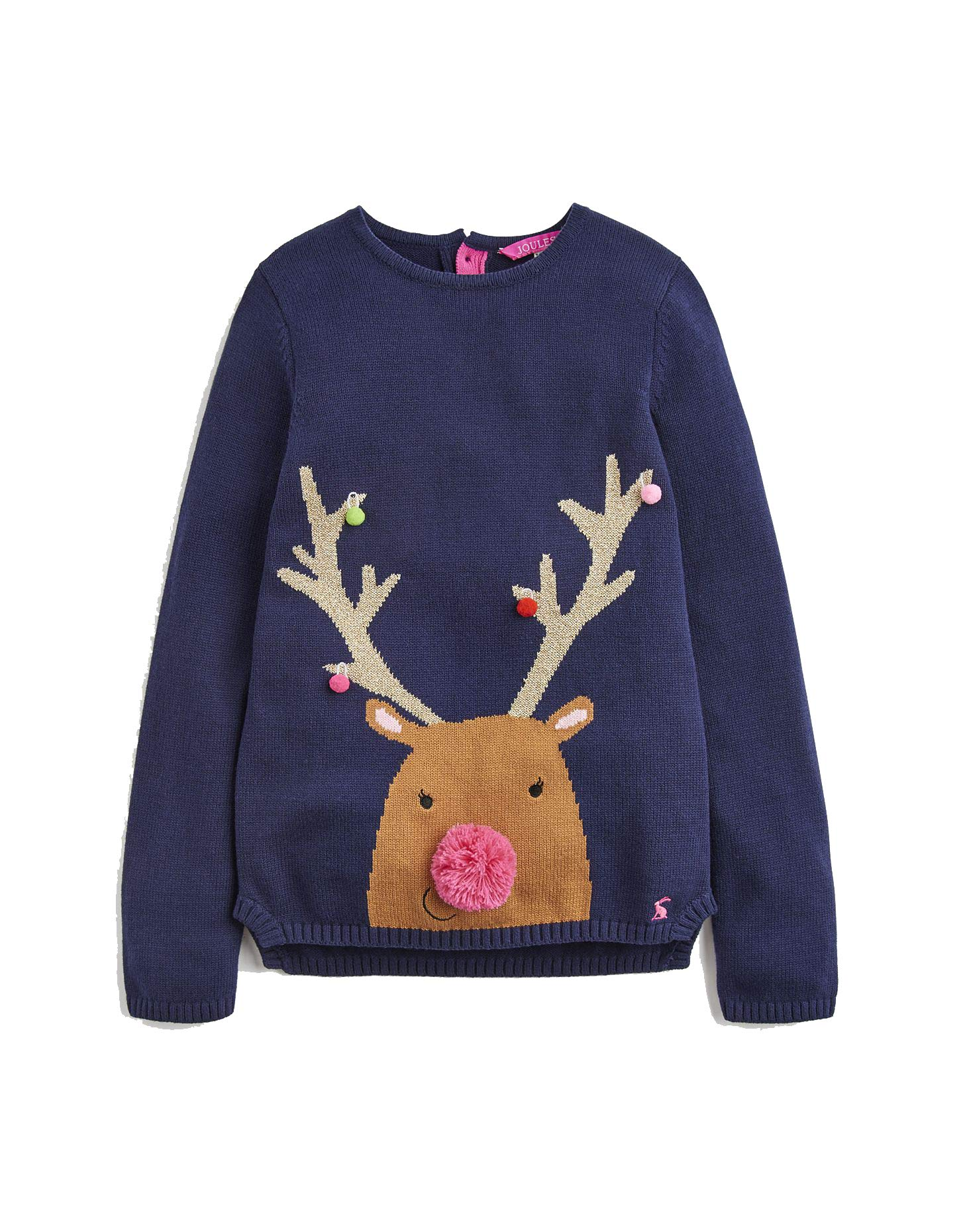 Joules Festive Artwork Sweater - French Navy - 3 Years - 98 cm by Joules