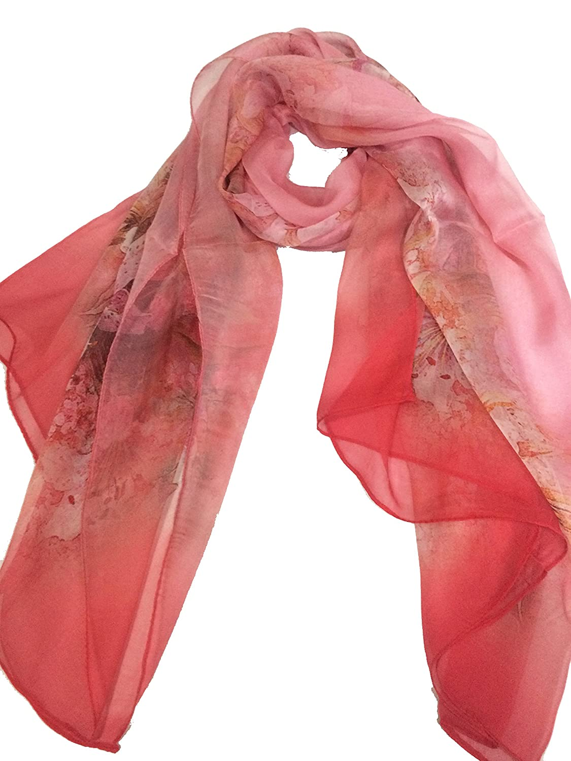 SHGS Printing Flowers Silk Scarf Infinity Light Weight Long Scarves