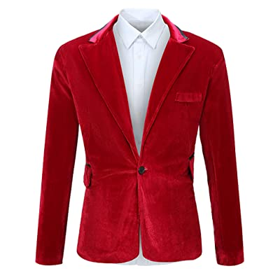 FEHAAN Men's One Button Slim Fit Velvet Suit Sport Coats Jacket at Amazon Men's Clothing store