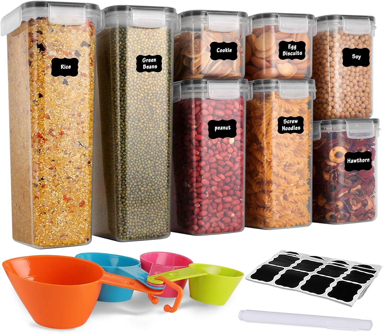 Farina GoMaihe Contenitori Alimentari per Cereali Set 8 Pezzi Muesli Utilizzato per la Conservazione di Pasta Cereali Contenitori Ermetici Alimentari Plastica con Coperchio per Alimenti Set