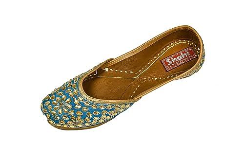 86eb11dc SHAHI Women's Blue Dabka Punjabi Jutti   Traditional Mojari for Girls    Wedding, Partywear, Casualwear Stylish Ethnic Footwear (SPF-1503): Buy  Online at Low ...