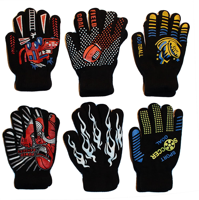 Gilbin Magic-Stretch Gripper Glove, Kids Size, Sports Set, 6 Pair 6 Pair (SIZE 4-6)