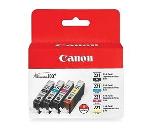 "CLI-221 Four Color Pack ""Canon CLI-221 Four Color Pack Compatible to MP980, MP560, MP620, MP640, MP990, MX860, MX870, iP4600, iP3600, iP4700"""