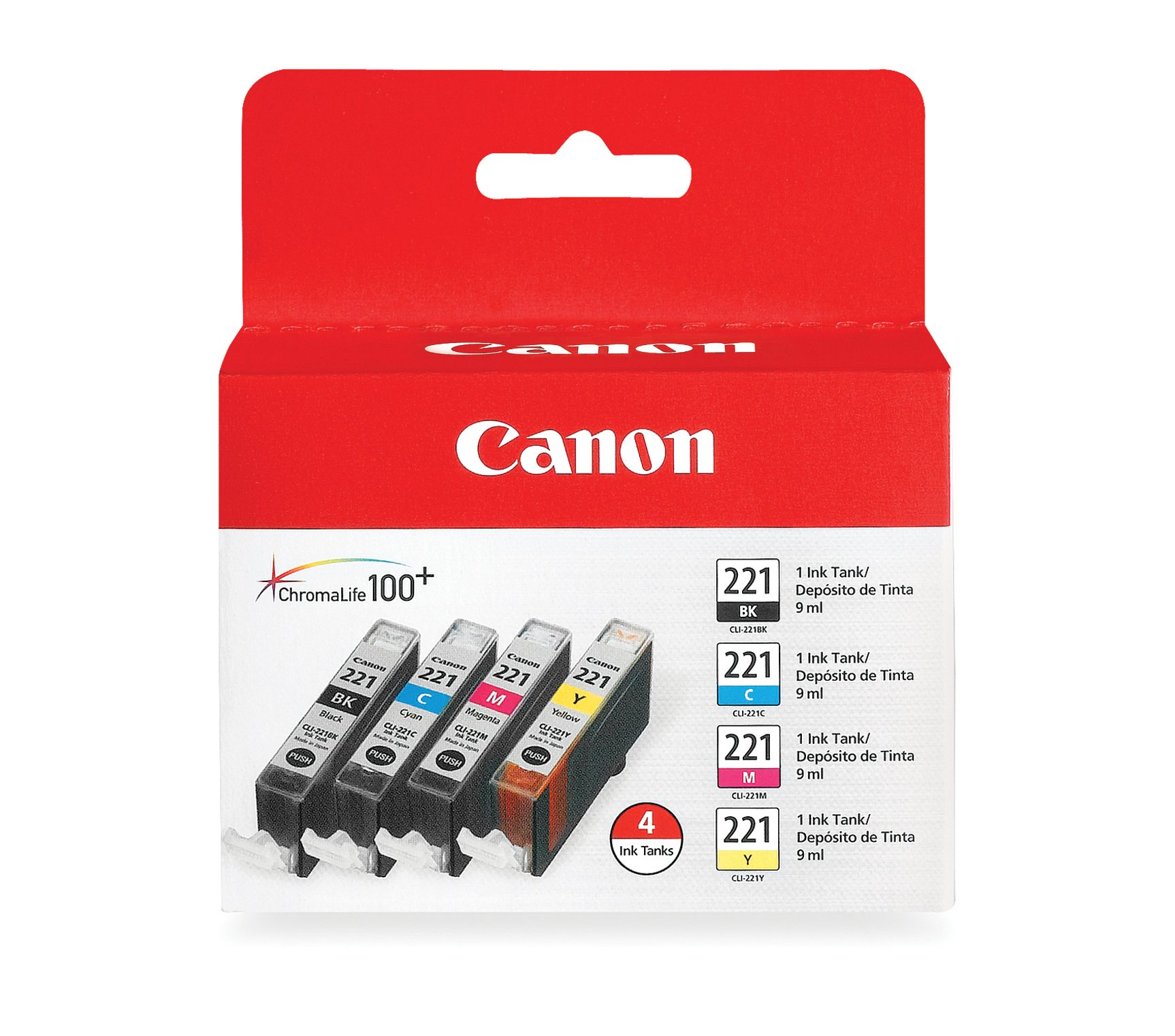Canon CLI-221 - Black, Cyan, Magenta, Yellow - 4 color pack by Canon