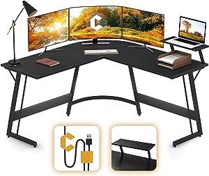 Cubiker Modern L-Shaped Desk Gaming Corner Desk, PC Laptop Computer Writing Desk for Home Office Wood & Metal, Black