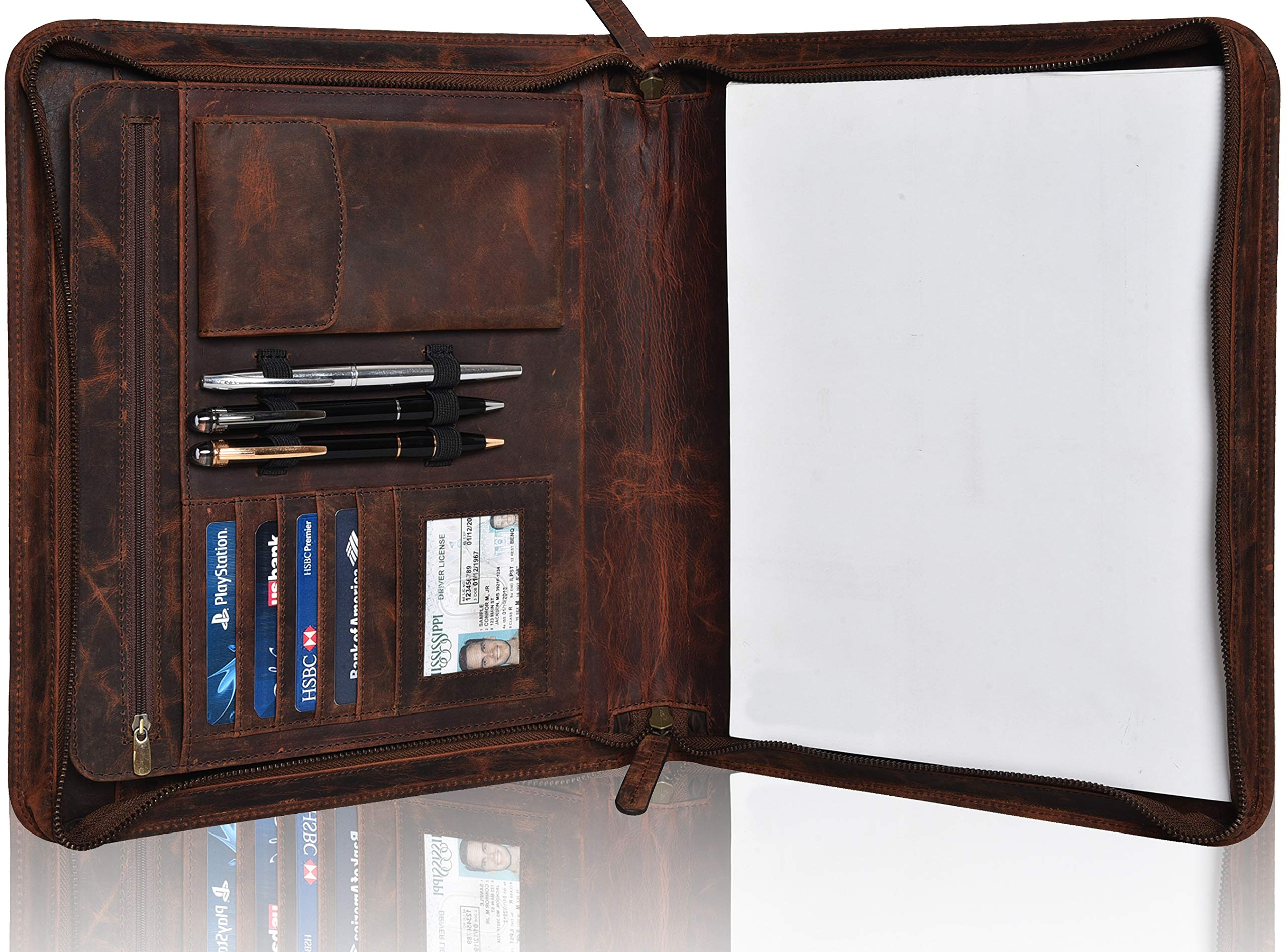 Leather Business Padfolio Portfolio for Men - Professional Executive Zippered Binder Folder 13.5 x 11 Inches Notepad Folio School Organizer for Women (Brown Hunter)