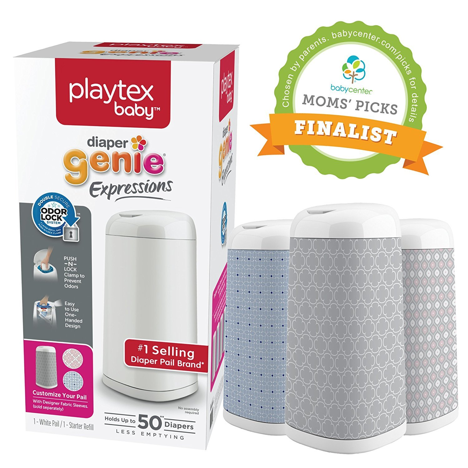 Playtex Diaper Genie Expressions Customizable Diaper Pail with Starter Refill by Diaper Genie