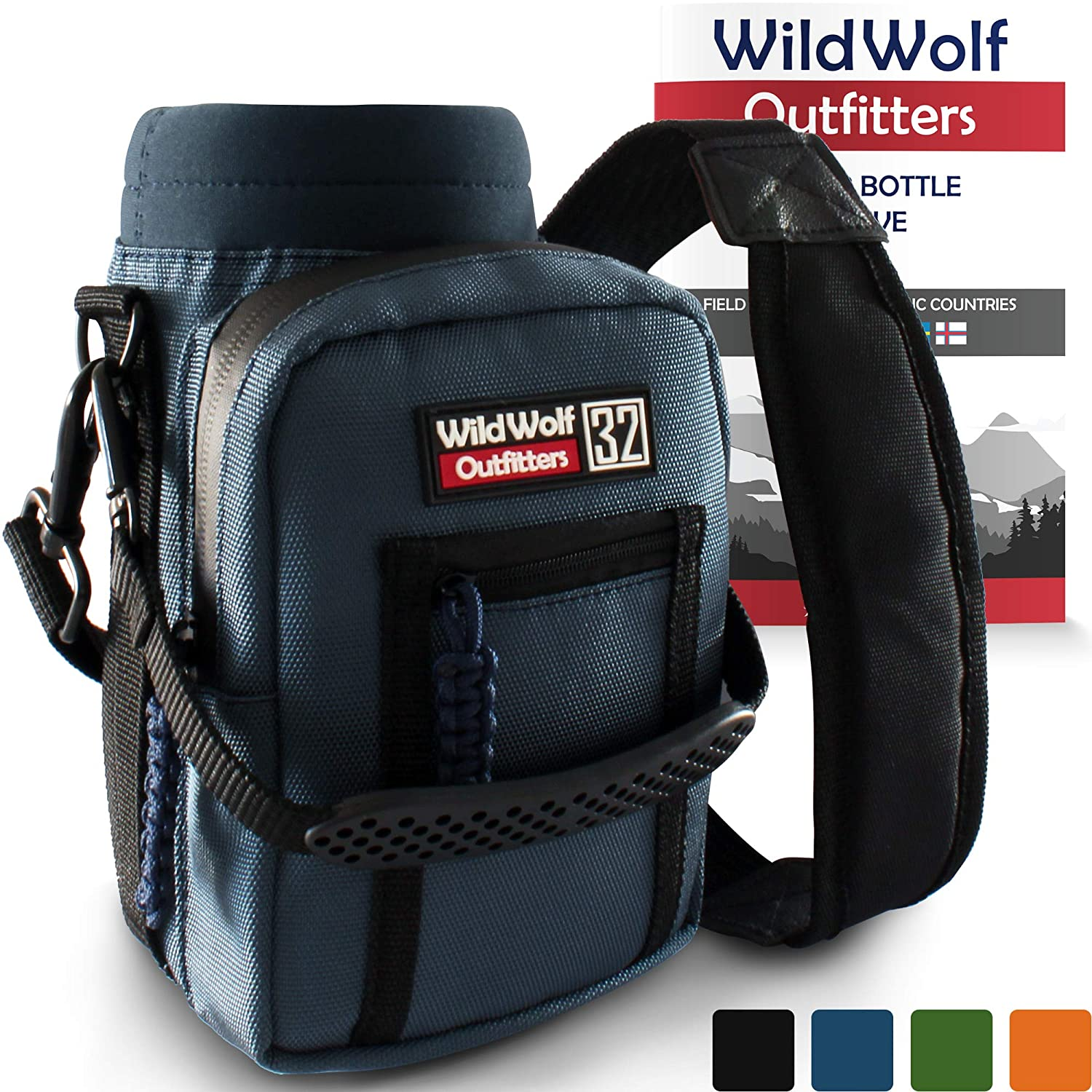 Wild Wolf Outfitters Water Bottle Holder for 32oz Bottles Blue - Carry, Protect and Insulate Your Best Flask with This Military Grade Carrier w/ 2 Pockets & an Adjustable Padded Shoulder Strap.