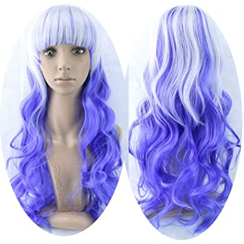 70cm Long Women Hair Ombre Color High Temperature Fiber Wigs Pink Blue Synthetic Hair Wig Peruca