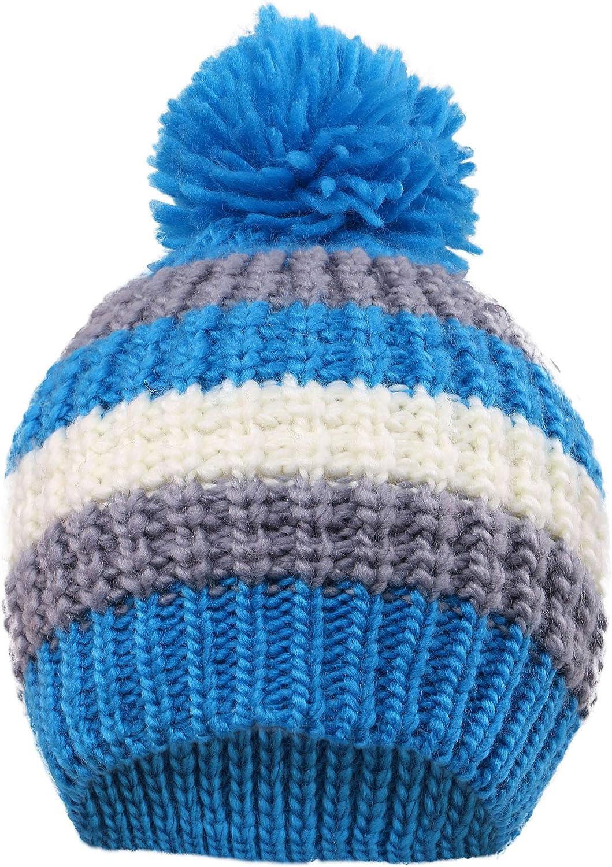 Simplicity Kids Girls Boys Winter Lined Snow Knit Beanie Hat with Pom Pom