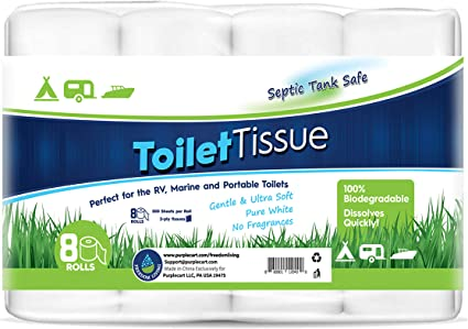 RV Toilet Paper (2-Ply, 8 Rolls, 500 sheets each) - Biodegradable Septic Tank Safe Rapid Dissolve Toilet Tissue