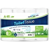Freedom Living RV Toilet Paper (2-Ply, 8 Rolls, 500 sheets each) - Biodegradable Septic Tank Safe Rapid Dissolve Toilet Tissu