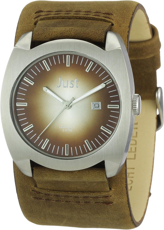 Just Watches 48-S1992-SL-BR - Reloj analógico de cuarzo para hombre, correa de cuero color marrón