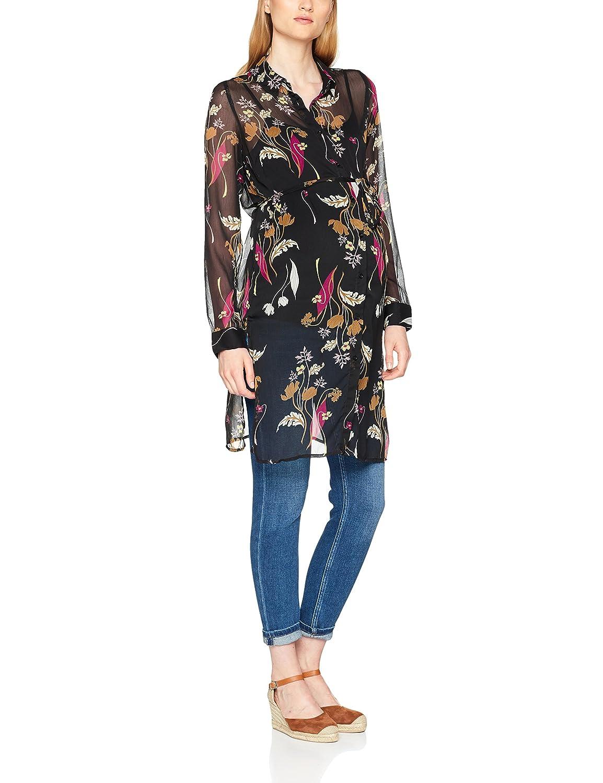 MAMALICIOUS Damen Umstandsbluse Mlshania L/S Woven Shirt Tunic Mehrfarbig (Black AOP:Black/Dry Rose/Chinese Yellow/Sea Mist) 36 (Herstellergrö ß e:S) 20007875