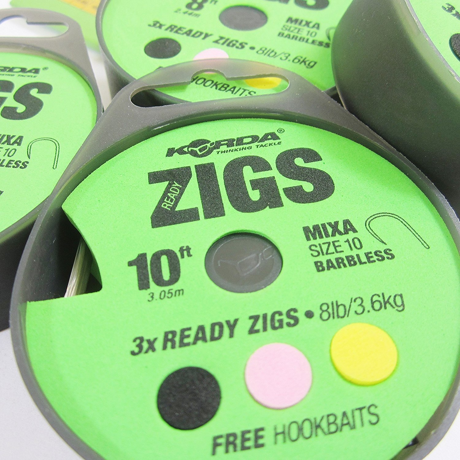 2 Packs//Spools of 3 FTD with free Hookbaits also comes with 10 FTD Hooks to Nylon Available in 6ft, 8ft, 10ft /& 12ft lengths KORDA READY ZIGS with Mixa Size 10 Barbless Fishing Hooks Ready Tied to 8lb//3.6kg Min 6 Rigs