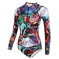 dilinte Long Sleeve One Piece Swimsuit Floral Print Zipper Sun Protection Swimsuit Rash Guard Bathing Suit